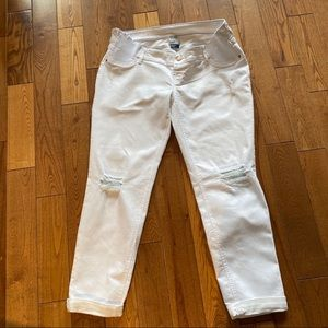 Old Navy maternity white crop jeans